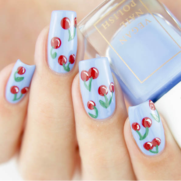 In today's nail art tutorialwe show you a playful und colourful nail  design. This design was inspired by so-called Pop Art - an art form that  dates back to ... - Pop Art Cherry Nail Art Tutorial Vegan Beauty Blog Kia-Charlotta